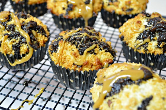 samoa muffins with choc and caramel